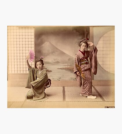 Two geisha girls dancing Photographic Print
