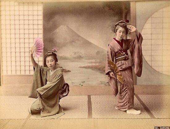 Two geisha girls dancing by Fletchsan