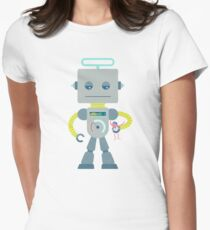 Giant silver robot with a toy human Women's Fitted T-Shirt