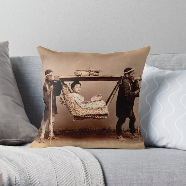 Japanese Kago, travelling chair Throw Pillow