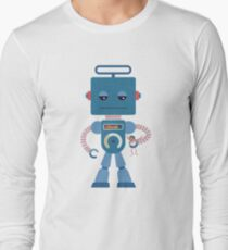 Giant blue robot with a toy human Long Sleeve T-Shirt