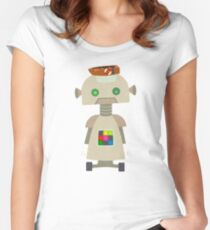 Giant golden robot with a boat hat  Women's Fitted Scoop T-Shirt