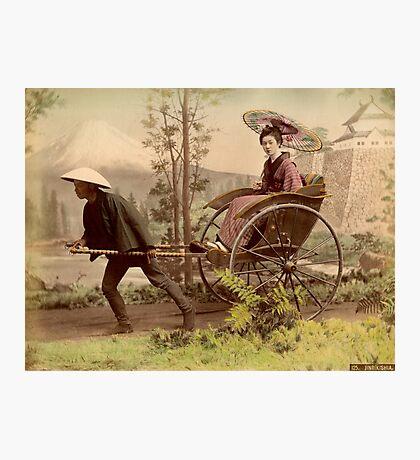 Geisha travelling by jinrikisha Photographic Print