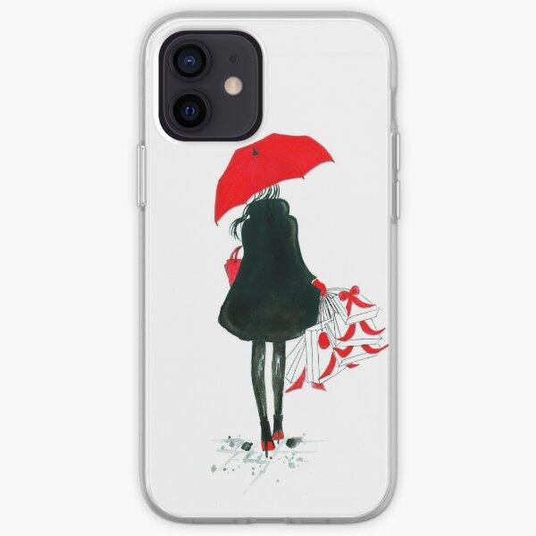 Illustration de mode aquarelle et encre intitulée Shopping de Noël Coque souple iPhone