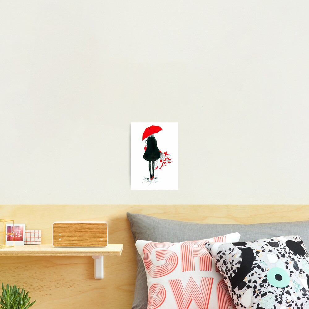 Watercolour & Ink Fashion Illustration Titled Christmas Shopping Photographic Print