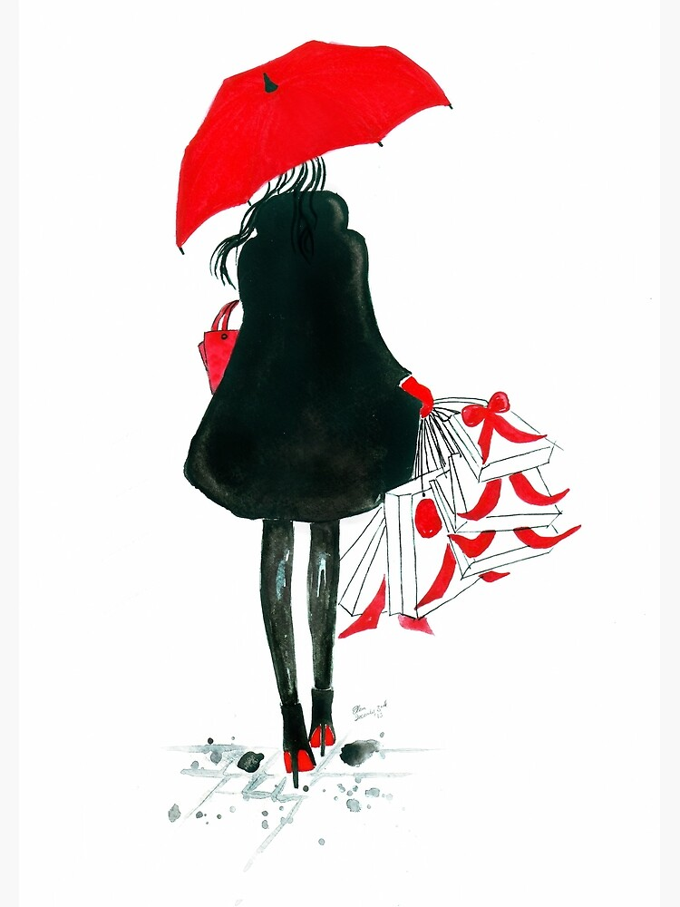Watercolour & Ink Fashion Illustration Titled Christmas Shopping by FallintoLondon