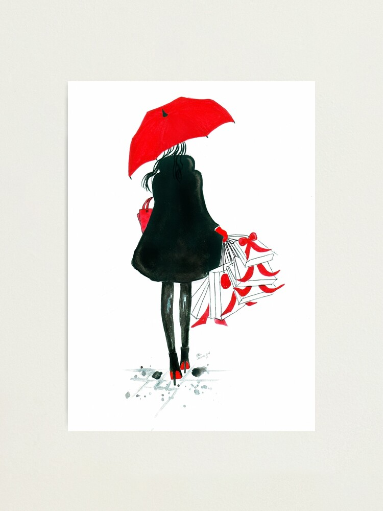 Alternate view of Watercolour & Ink Fashion Illustration Titled Christmas Shopping Photographic Print