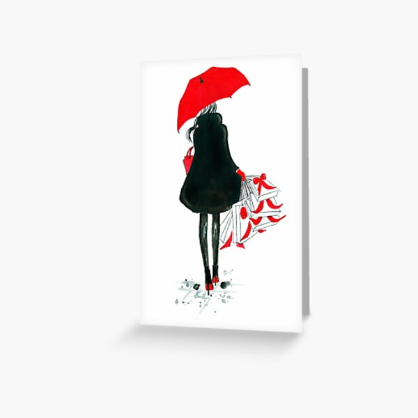 Watercolour & Ink Fashion Illustration Titled Christmas Shopping Greeting Card
