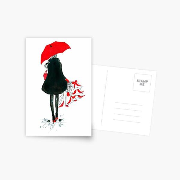 Watercolour & Ink Fashion Illustration Titled Christmas Shopping Postcard