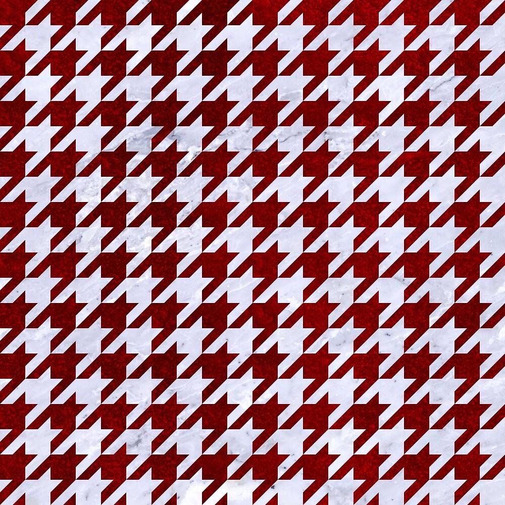 HOUNDSTOOTH1 WHITE MARBLE & RED GRUNGE by johnhunternance
