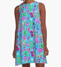 Nineties Nostalgia Childhood Toy Memories  A-Line Dress