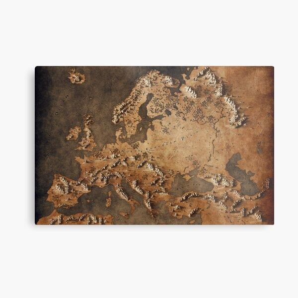 Map of Europe - Fantasy Theme Metal Print