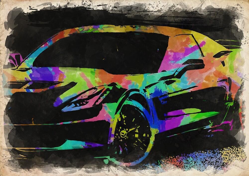 Corvette Watercolor III by RickyBarnard