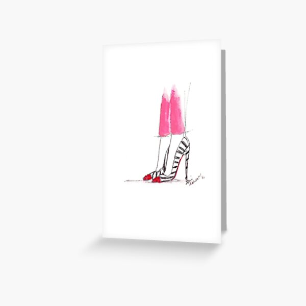 Watercolour & Ink Fashion Illustration Titled Hot Pink Greeting Card