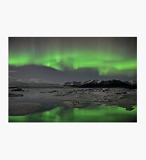 Aurora Borealis - Jokulsarlon Glacial Lagoon, Iceland Photographic Print