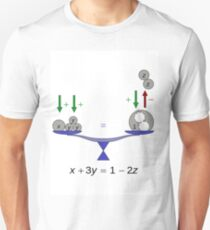 Illustration of a simple equation; x, y, z are real numbers, analogous to weights Unisex T-Shirt