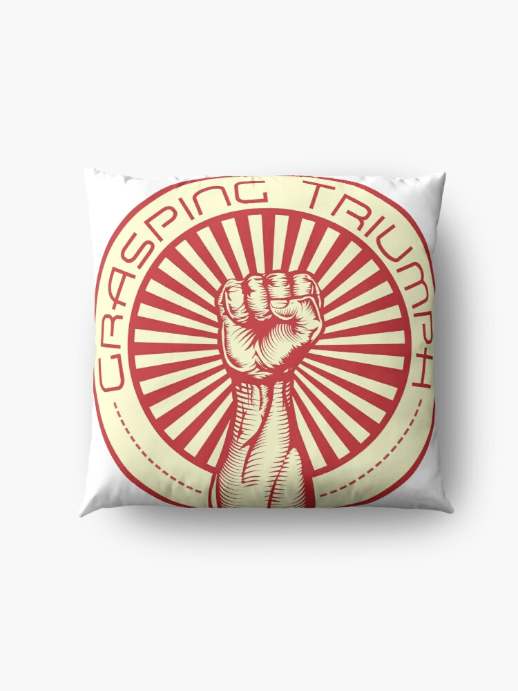 Alternate view of Grasping Triumph Russian Propaganda Raised Fist Art  Floor Pillow