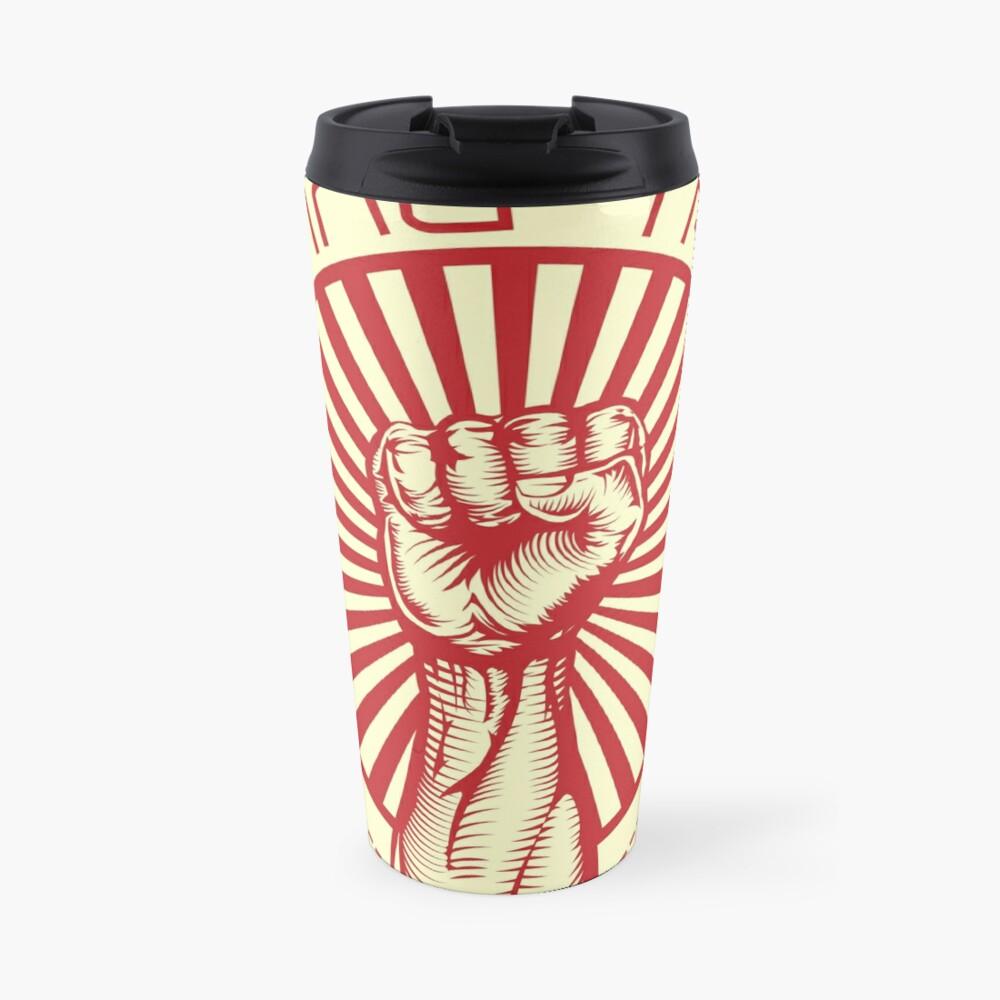 Grasping Triumph Russian Propaganda Raised Fist Art  Travel Mug