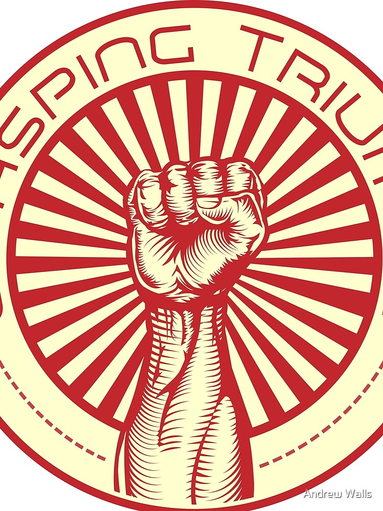 Grasping Triumph Russian Propaganda Raised Fist Art  by andrewjwalls