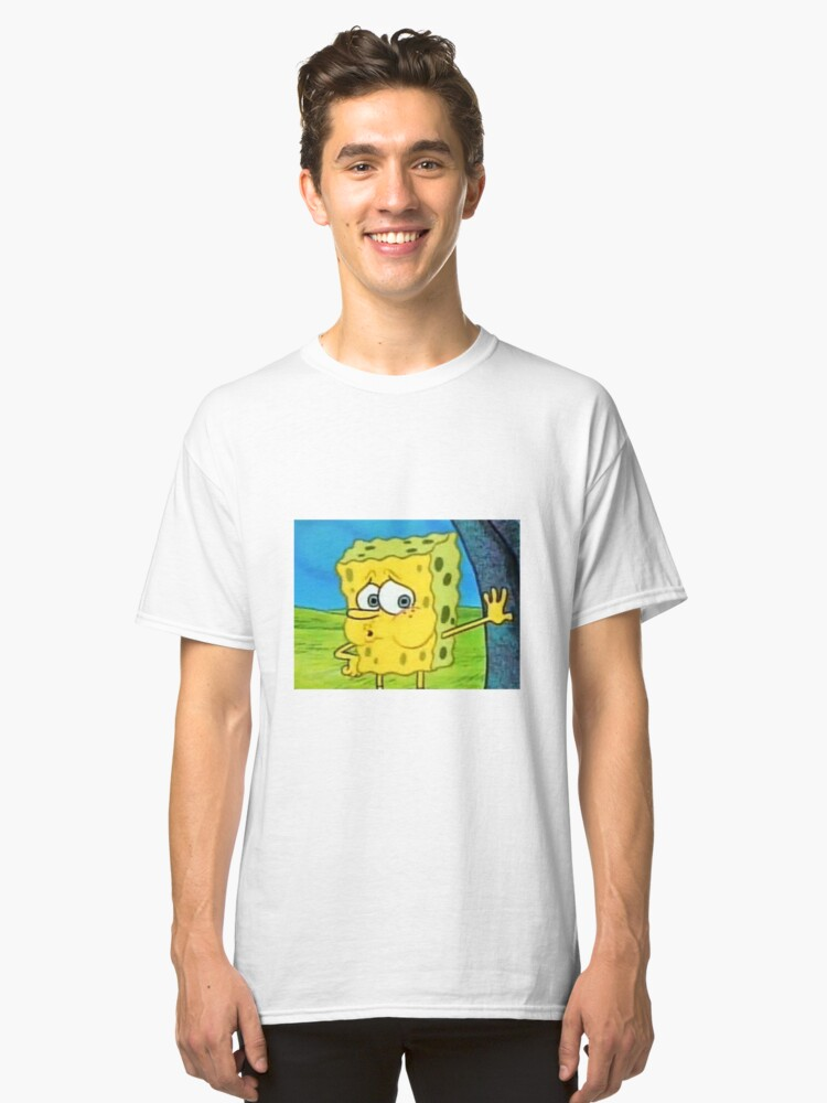Tired Spongebob Meme Classic T-Shirt Front