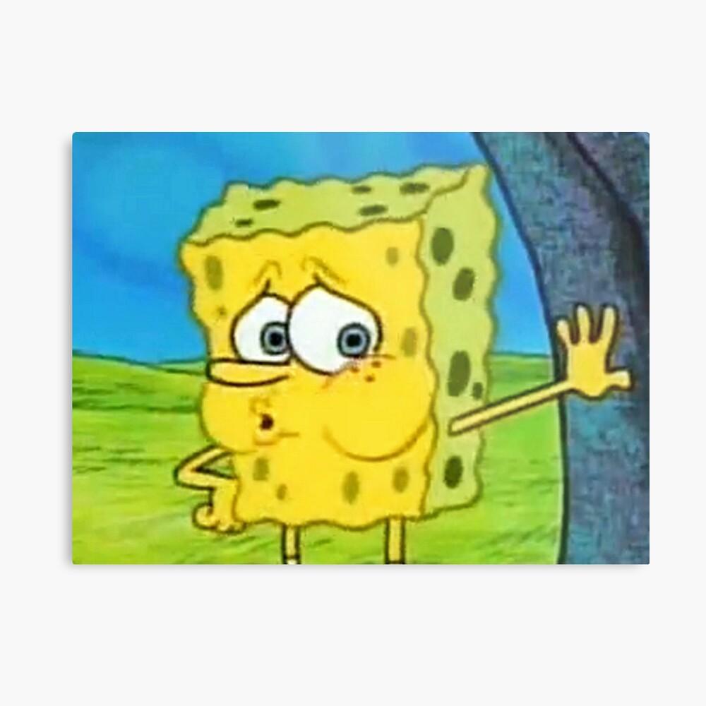 Tired spongebob meme metal print