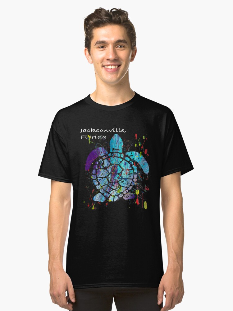 Beach Design Jacksonville, Florida Abstract Sea Turtle Classic T-Shirt Front