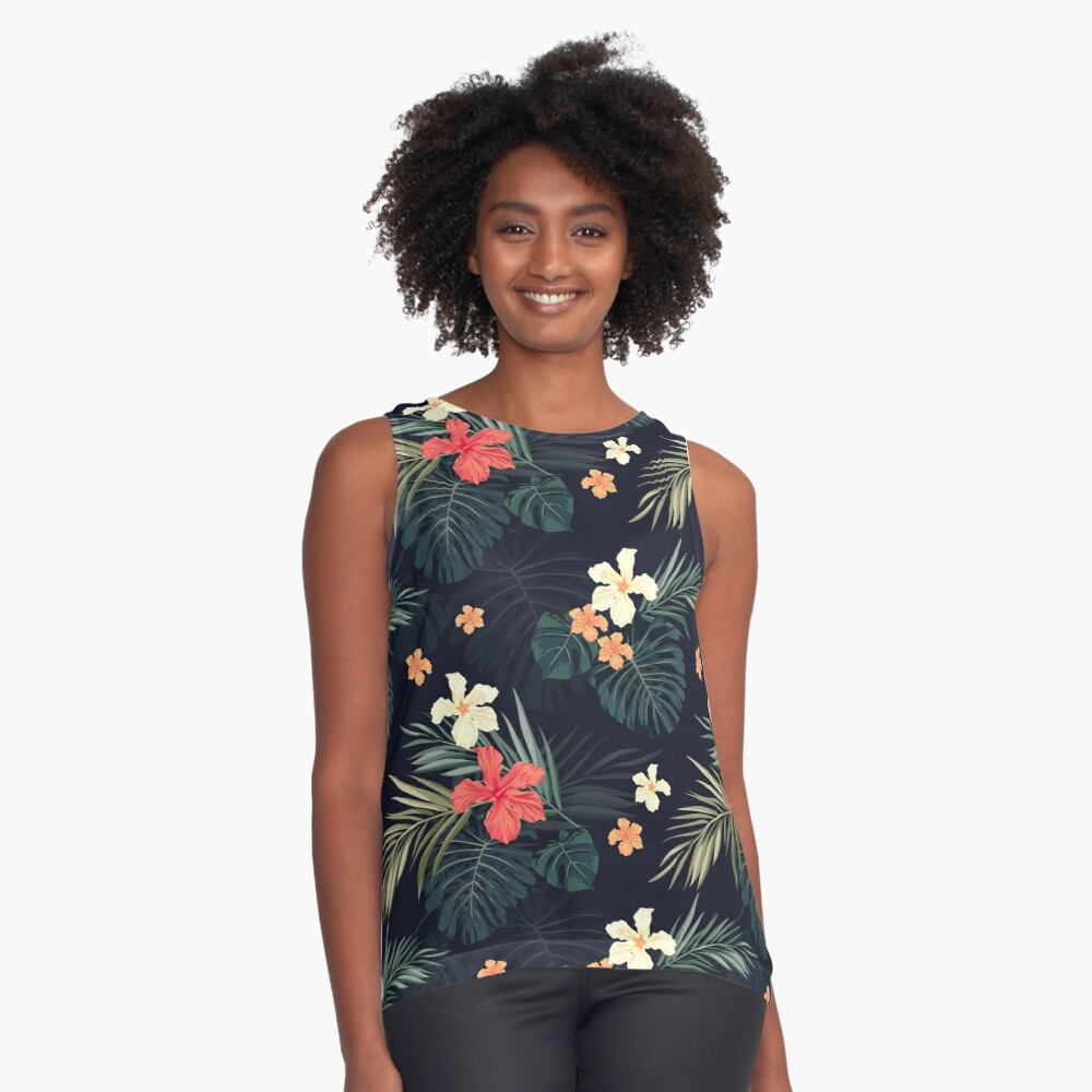 Dark tropical flowers Sleeveless Top