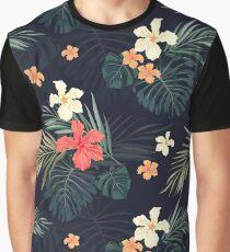 Dark tropical flowers Graphic T-Shirt
