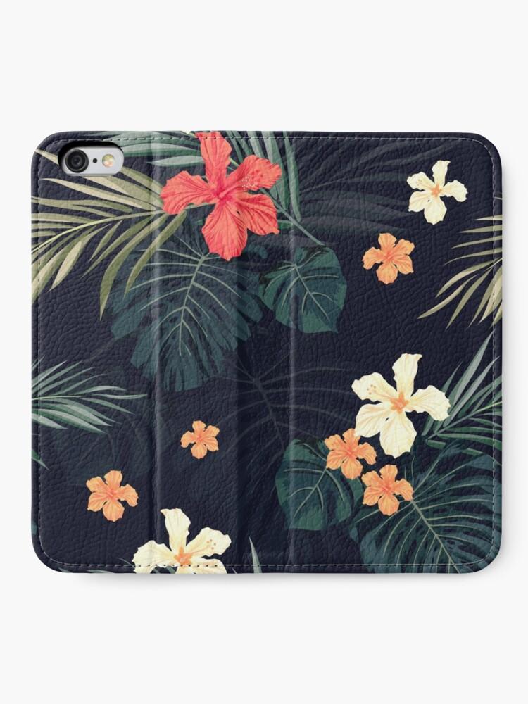 Alternative Ansicht von Dunkle tropische Blumen iPhone Flip-Case