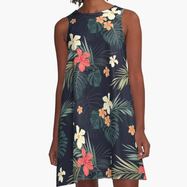 Dark tropical flowers A-Line Dress
