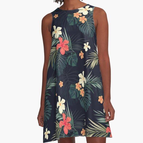 Dunkle tropische Blumen A-Linien Kleid