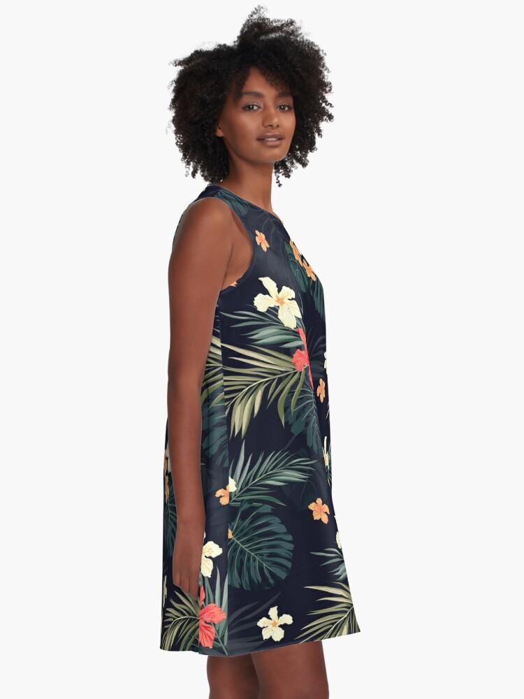 Alternate view of Dark tropical flowers A-Line Dress
