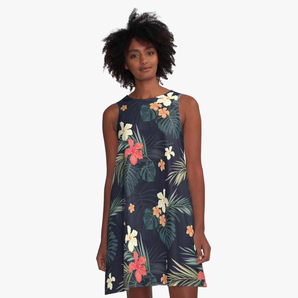 Dark tropical flowers A-Line Dress