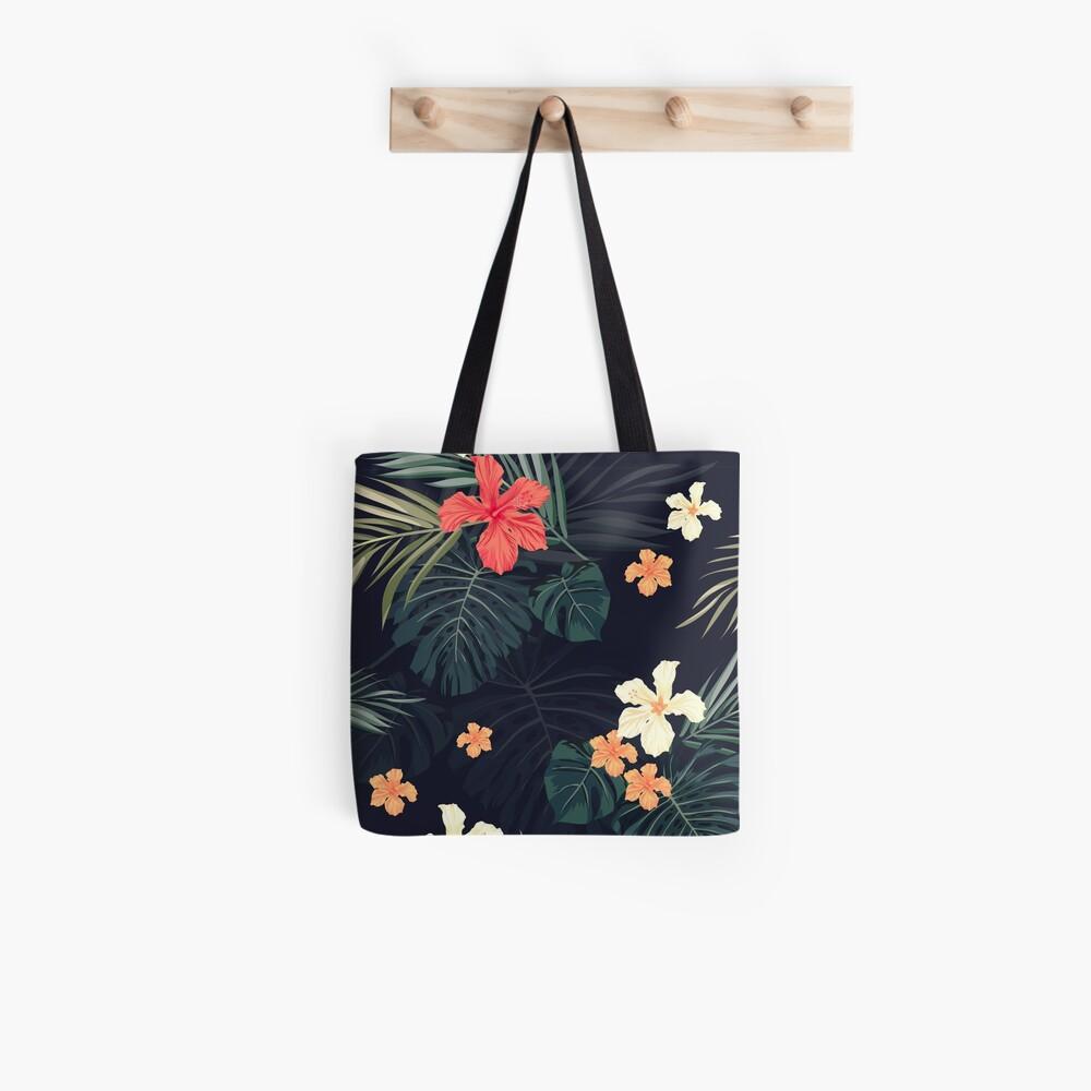 Dark tropical flowers Tote Bag