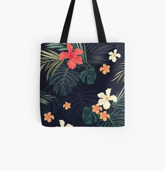 Dark tropical flowers All Over Print Tote Bag
