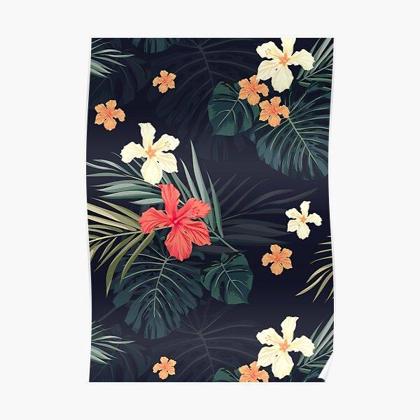 Dunkle tropische Blumen Poster
