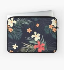 Dark tropical flowers Laptop Sleeve