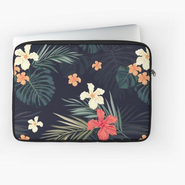 Dark tropical flowers Laptop Sleeve