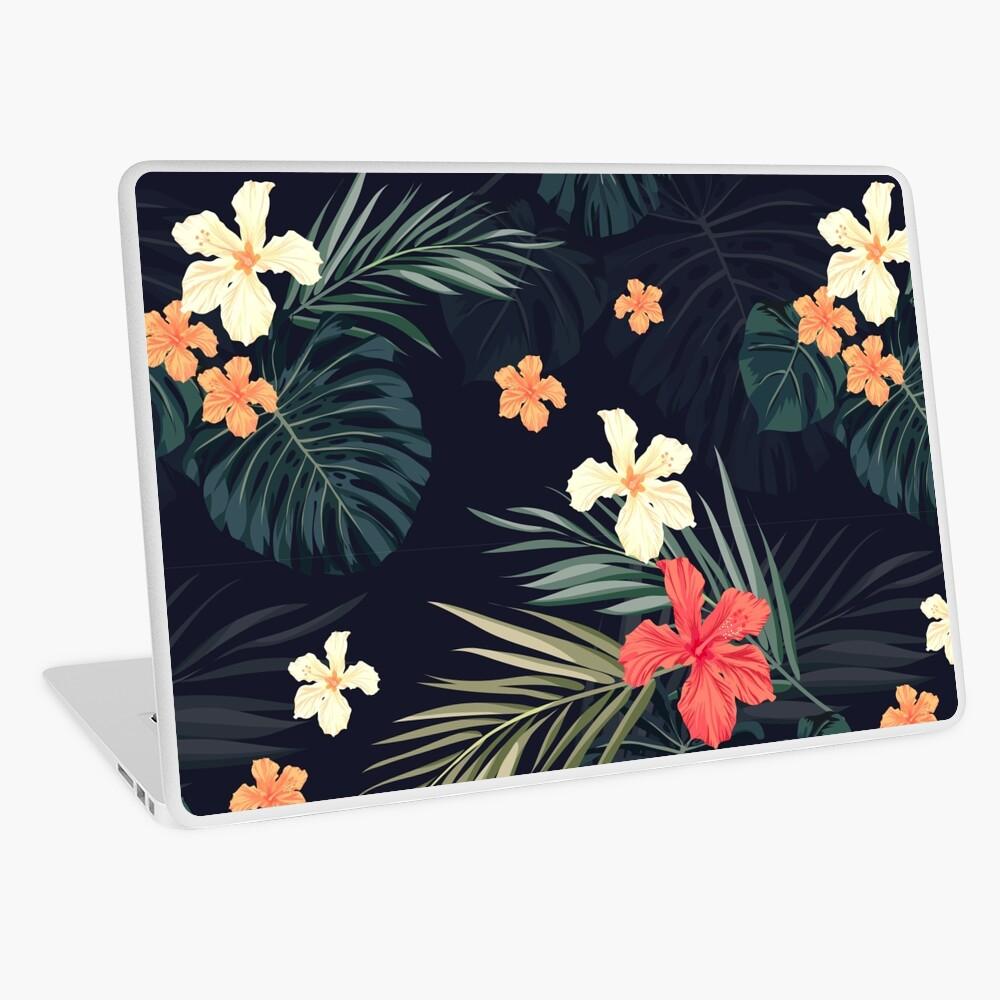 Dark tropical flowers Laptop Skin