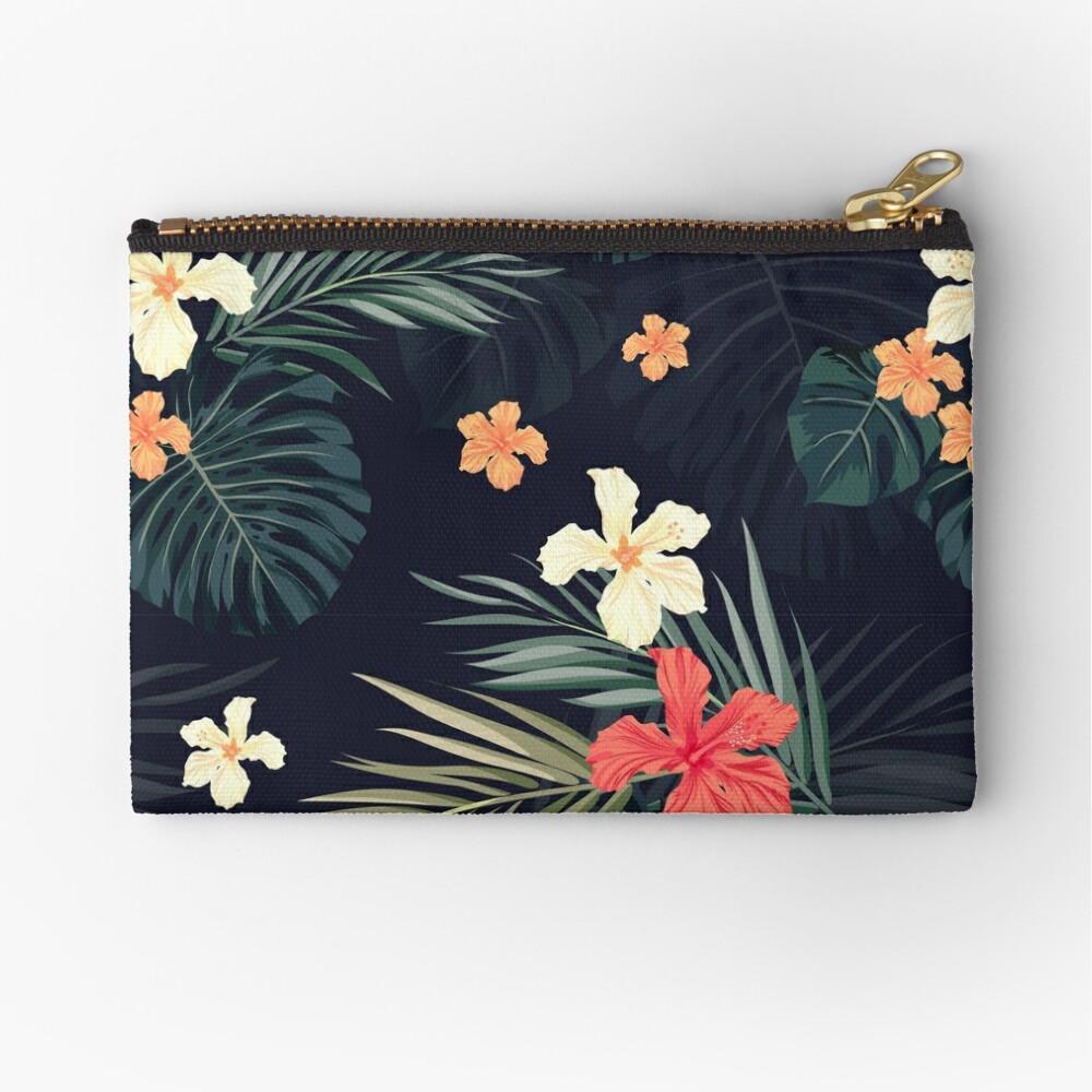 Dunkle tropische Blumen Täschchen