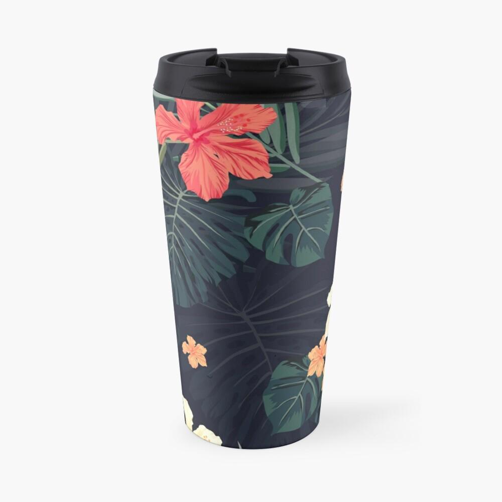 Dark tropical flowers Travel Mug