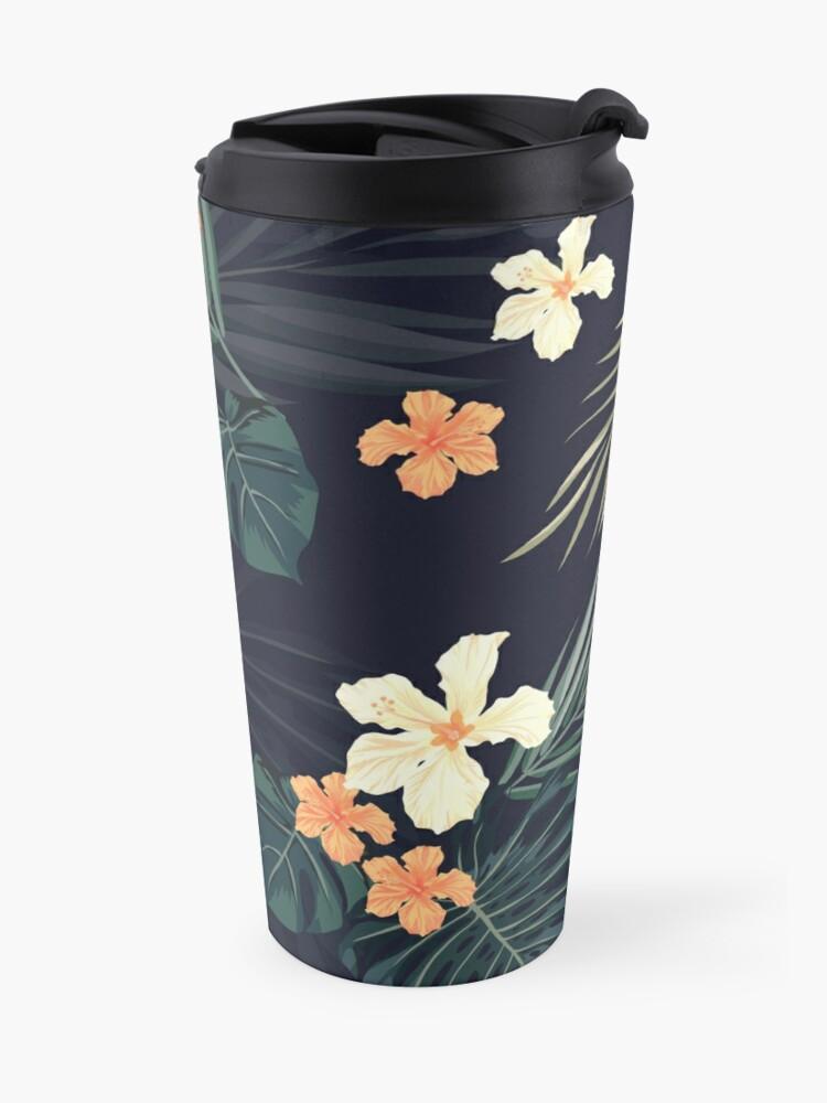 Alternate view of Dark tropical flowers Travel Mug
