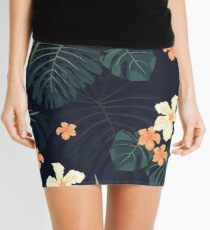 Dark tropical flowers Mini Skirt
