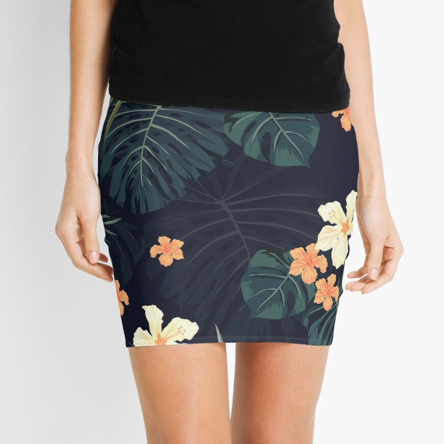 Dark tropical flowers Mini Skirt