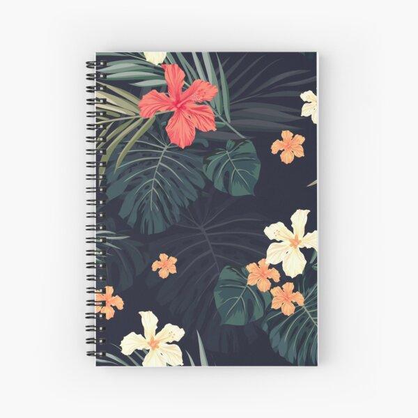 Dark tropical flowers Spiral Notebook