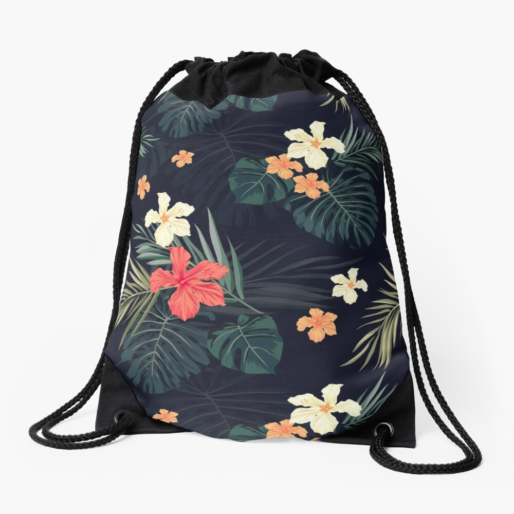 Dark tropical flowers Drawstring Bag