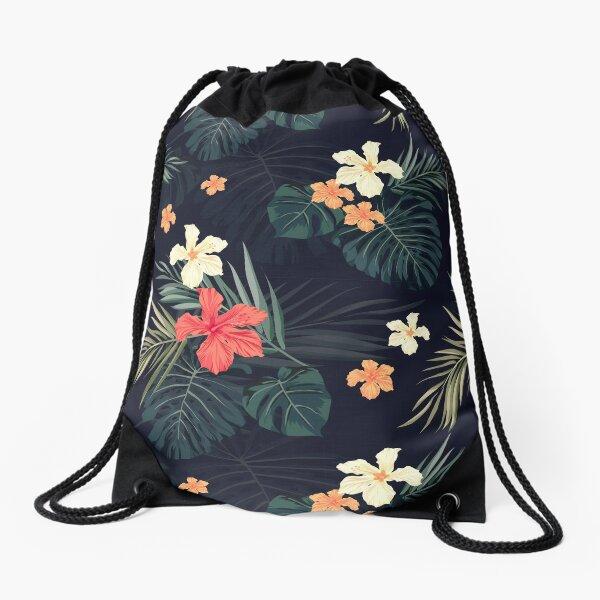 Fleurs tropicales foncées Sac à cordon