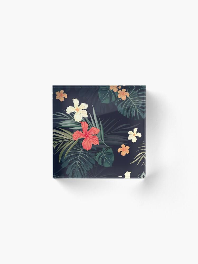 Alternate view of Dark tropical flowers Acrylic Block