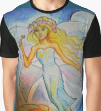 Fairy woman flying past a daisy at night Graphic T-Shirt