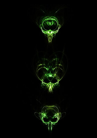 Abstract Vertical Skulls - Green by viovis